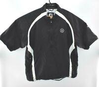 FootJoy Mens 1/2 Zip Wind Shirt Jacket Black Short Sleeve Pullover Golf L