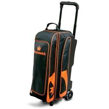 "Brunswick Blitz 3 Ball Bowling Roller Bag with 5"" wheels Color Black/Orange"