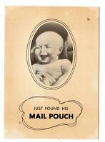 1940 CHEW MAIL POUCH TOBACCO GREETING CARD FUNNY BABY SIGNED KOKOMO JOE (JOCKEY)