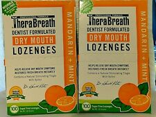 2 TheraBreath Mandarin Mint Dry Mouth Lozenges - 100 Count Each  Sugar Free