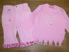 PAMPOLINA Girls Pink Baby Cord Designer Outfit Top Trousers Age 3-6m