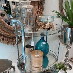 Smith Chrome Glass Mirror Bar cart Oval Drink Trolley Silver