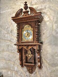 LARGE VINTAGE ANTIQUE GERMANY GUSTAV BECKER VIENNA STRIKE WALL CLOCK,WALNUT CASE