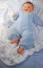 KNITTING PATTERN baby blanket cot pram cover Eyelet lace frilled edge DK (607)