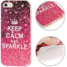 TPU Case Schutzhülle für Apple iPhone 5 / 5S in pink Keep calm and Sparkle