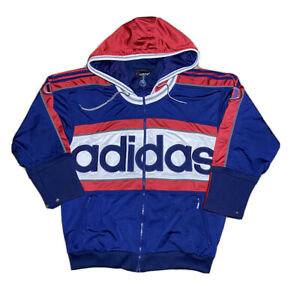 Vintage 90s Adidas Big Spell Out Multicolor Full Zip Hooded Track Jacket Size L