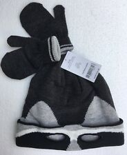 CARTERS Boys 2t - 4t Winter Stocking Hat & Mittens Gray Raccoon Mask 3 Pc. NWT