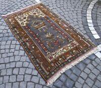 Vintage Anatolian Wool Kilim Rug 3x5 Handwoven Authentic Oriental Brown Area Rug