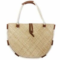 Vintage 1960s Palm Straw Rattan Beach Bag Festival Tote Purse Wicker BIG 18.5x13