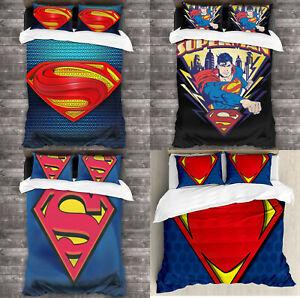 Superman Summer Cool Comforter Set 3PCS Lightweight Soft Quilt Pillowcases Gifts