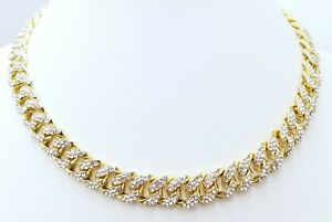 13 MM BUST DOWN MIAMI CUBAN WHITE GOLD CHAIN 46 CT VS1 CLARITY CRYSTALS HANDMADE