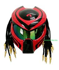 RED Custom Predator Motorcycle Helmet Unique Handmade