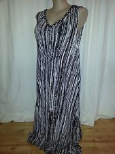 Autograph detailed V neck BOHO slimming stripes summer party Maxi DRESS 26 NEW