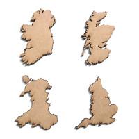 Wooden MDF UK Maps Scotland England Ireland Wales Craft Shape Embellishments