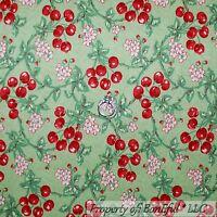 BonEful Fabric FQ Cotton Quilt Green Red White Cherry Fruit Flower Shabby Chic L