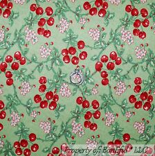 BonEful Fabric FQ Cotton Quilt Green Red White Cherry Fruit Garden Flower Sweet