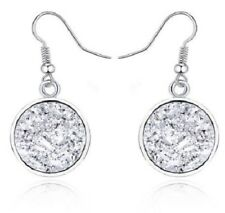 SPARKLING SILVER DRUZY RESIN ROUND DANGLE EARRINGS 12MM
