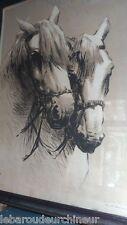 Gravure Chevaux signée G.Vidal. Engraving horses signed VIDAL Gustave, 1895-1966