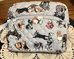 Vera Bradley Medium Cosmetic Case BEST IN SHOW 🐶  Dogs Gray MakeUp Bag GIFT NWT
