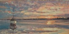 Sean Wu original oil painting, 12x24 on canvas panel, boat seascape