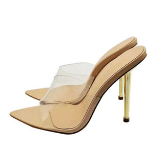 Womens Pointed Toe High Heels Slipper Mules Sandals Stilettos Sexy Sliders Shoes