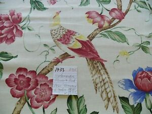 BY YARD SCALAMANDRE FLOWER & BIRDS LINEN PRINT ORIENTEAUX  CHINOISERIE
