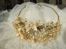 Antique 1920 S cire Orange Blossom Fleur Mariage Tête Robe et voile parfait.