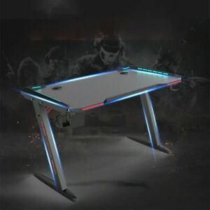 47 Inch Ergonomic Gaming Desk RGB LED Light E-sports Computer Table GAMING