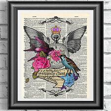 Art print on ORIGINALE ANTICO LIBRO pagina Tatuaggio arte Blu e Rosa Uccello dizionario