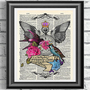ART PRINT ON ORIGINAL ANTIQUE BOOK PAGE Tattoo Art Blue and Pink Bird Dictionary