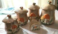 Vintage '70's ARNEL's Ceramic Hand Painted Mushroom Canisters  Set of 5