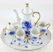 MINIATURE BLUE ROSES PORCELAIN TEA SET TEAPOT SUGAR BOWL CREAMER 2 TEACUPS