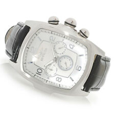 Invicta Men's Grand Lupah Multifunction Silver Quartz Dial Black Leather Watch