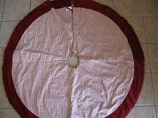 Pottery Barn Classic Ticking Stripe TREE SKIRT Cranberry Red New