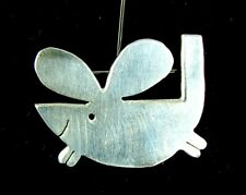 MODERNIST MOUSE BROOCH PIN *STERLING SILVER* MCM STUDIO JEWELRY