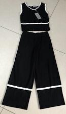 Ladies Black Lightweight Knit 3/4 Trouser Vest Top Set New With Tags M/L uk 10