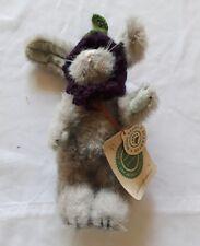 "1990/95 Boyds Bearwear Gray Jointed 8"" Rabbit w Purple Knitted Hat"