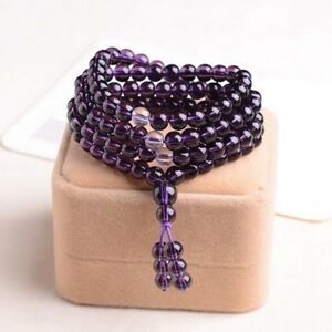 6mm Stone Buddhist Amethyst 108 Prayer Beads Mala Bracelet / Necklace 2020