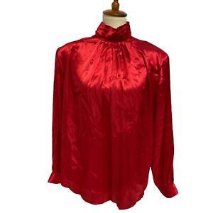 Vintage Karen Scott women's Victorian blouse red long sleeve size 16