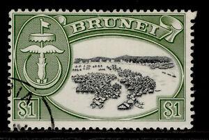 BRUNEI QEII SG129a, $1 black & bronze-green, FINE USED.