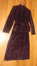 Vintage 1980 Mj Velour/Velvet Suit-Size 11-Moroon-Skirt & Jacket-Union Made Usa