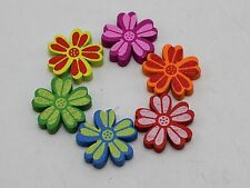 50 Mixed Bright Candy Color 22mm Wood Flower Beads Wooden Beads