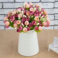 15 Artificial Flowers Head Mini Rose Home Decor For Wedding Valentines Day Decor