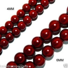 MAGNETIC HEMATITE BEADS PEARL DARK RED 4MM HIGH POWER BEAD STRAND HPR1