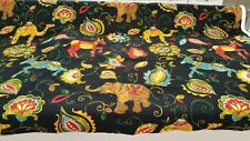 "Mill Creek Swavelle Groveland Jungle blacl animal fabric 55"" width BTY 16yds!"