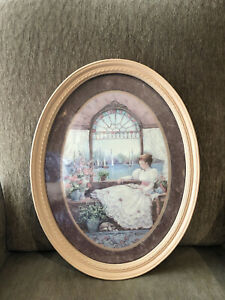 Home Interiors Barbara Mock Oval Framed Picture Victorian Lady Reading By Window