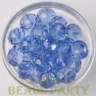 New 5pcs 16X12mm Rondelle Faceted Loose Spacer Big Glass Beads Bulk Light Blue