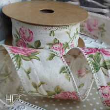40mm Wired Burlap Hessian Ribbon. Pink Rose Flower Wedding Vintage Chic Rustic