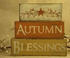 Fall Shelf Sitter Wood Block Trio AUTUMN BLESSINGS Custom Made Farmhouse Decor