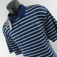 NWT Mens Under Armour UA Heatgear Loose Fit Blue Striped Golf Polo Shirt Comfort